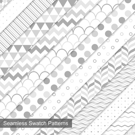 Swatch seamless patterns. White and grey texture.