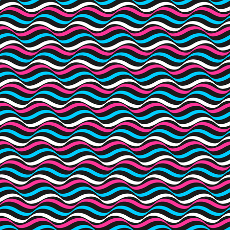 Wavy color retro pattern - vector seamless background