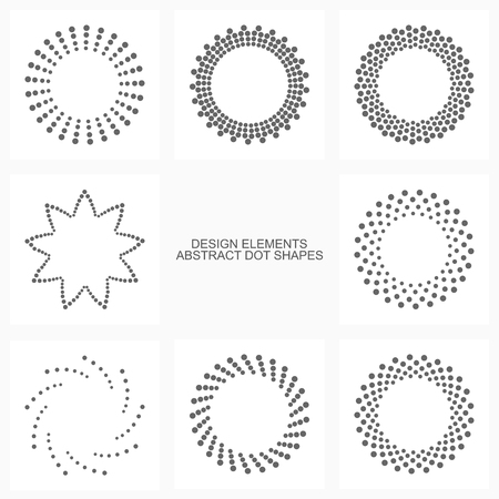 Abstract dotted shapes.Vector set of design elements and icons.