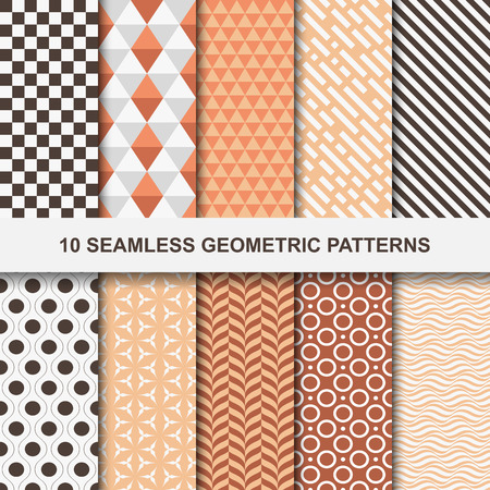Vector geometric patterns - seamless. Ten stylish backgrounds for your design and ideas.