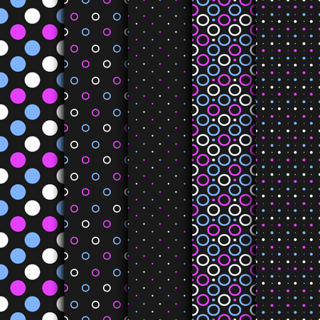 Vector seamless patterns with circles and dots.