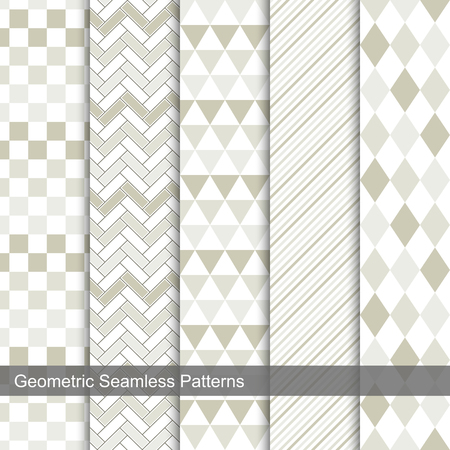 Set of vector geometric tiled seamless patterns. Illustration
