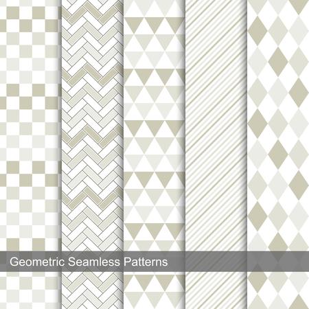 Set of vector geometric tiled seamless patterns. Illustration