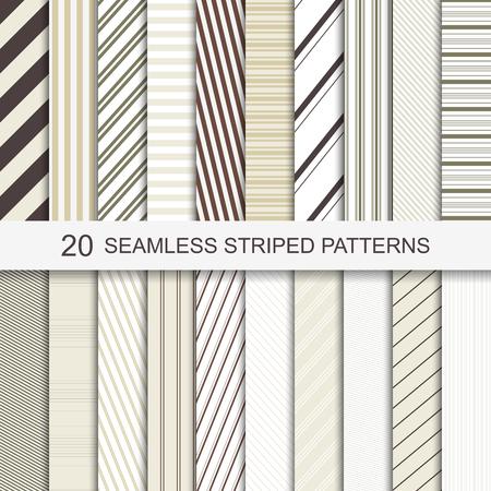 Set van twintig vector naadloze gestreepte patronen. Stock Illustratie