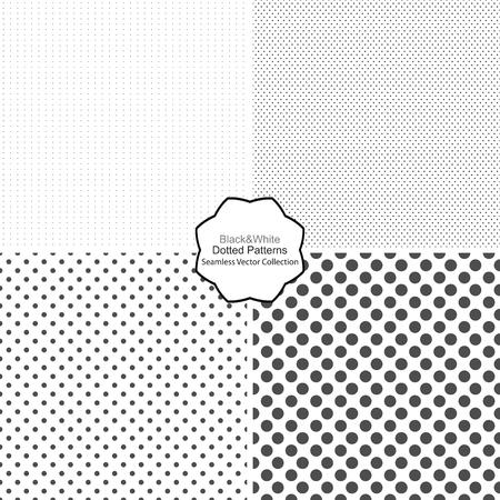 간단한 점선 패턴입니다. 원활한 벡터 컬렉션입니다. 검은 색과 흰색 질감. 일러스트