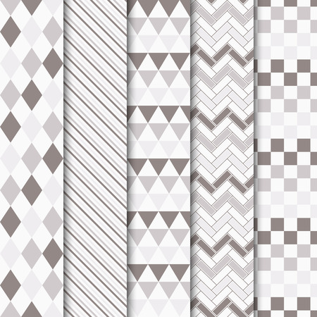 Set of vector geometric tiled seamless patterns. 向量圖像