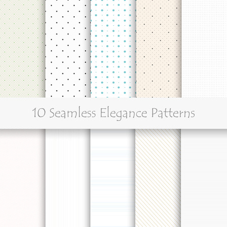 Set of 10 seamless elegance patterns, light colors
