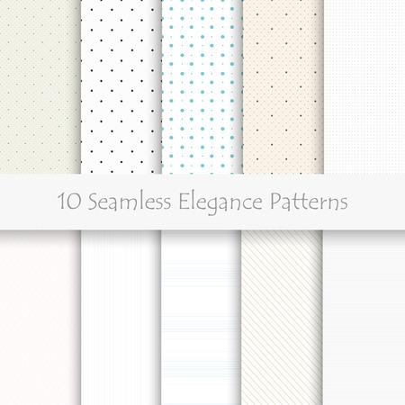 Set of 10 seamless elegance patterns, light colors