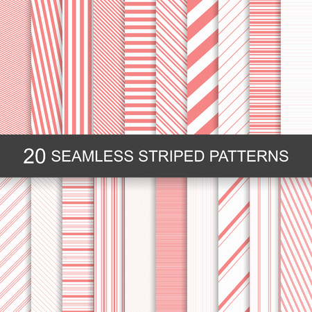 20 vector seamless striped patterns. Red striped design. Çizim