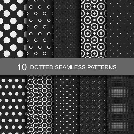 Collectie van zwarte naadloze patronen met cirkels en stippen. Stock Illustratie