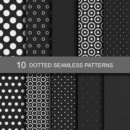 Collection of black seamless patterns with circles and dots.