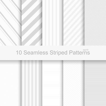 Jednolite wzory w paski. Białe i szare tekstury. Ilustracje wektorowe