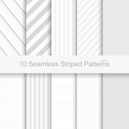 Seamless striped patterns. White and gray texture.