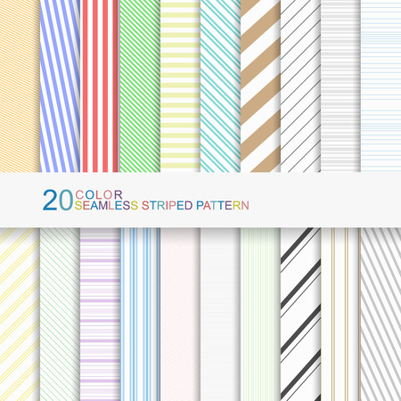 Conjunto de patrones de franjas de color, fondos de vector sin fisuras para su diseño Foto de archivo - 50371745