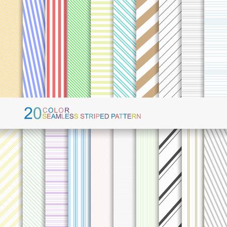Set van kleur gestreepte patronen, naadloze vector achtergronden voor uw ontwerp Stock Illustratie