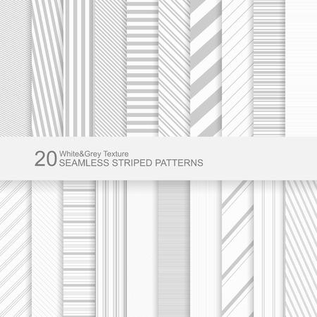 20 Jednolite wzory paski wektor, biały i szary tekstury.