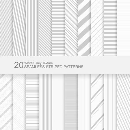 20 Seamless striped vector patterns, white and grey texture. Иллюстрация