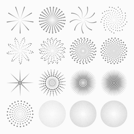Abstract dot shapes, vector set of design element Çizim