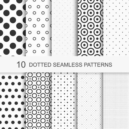 Simple gestippelde patronen. Naadloze vector collectie. Zwart en wit textuur. Stock Illustratie