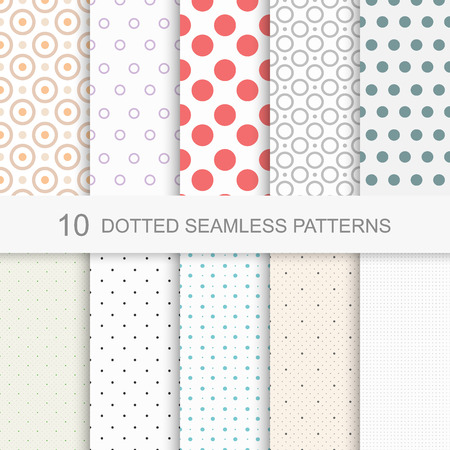 Set of simple dotted patterns, seamless color texture.