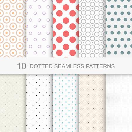 Set van eenvoudige gestippelde patronen, naadloze kleur textuur. Stock Illustratie