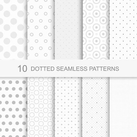 Set van zachte delicate naadloze patronen met stippen Stock Illustratie