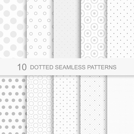 Set of soft delicate seamless patterns with dots