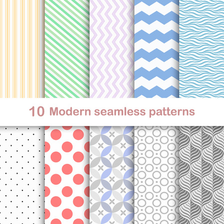 Set of ten modern seamless colorful patterns.