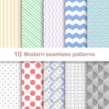 Set van tien moderne naadloze kleurrijke patronen.
