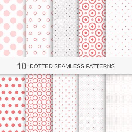 ドットと魅力的なシームレス パターンのセット  イラスト・ベクター素材