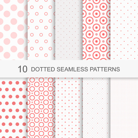 Set of charming seamless patterns with dots