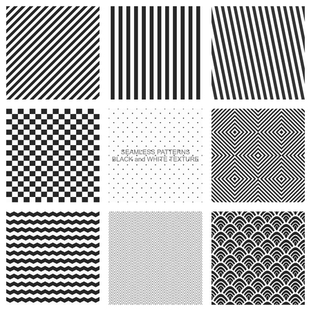 Set of seamless patterns, black and white texture. Vector backgrounds