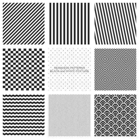 Set van naadloze patronen, zwart en wit textuur. Vector achtergronden