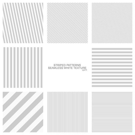 Eenvoudige gestreepte patronen, een naadloze vector collectie. Stock Illustratie