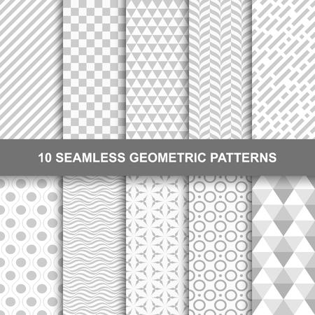 10 Naadloze geometrische patronen. Grijs en wit textuur