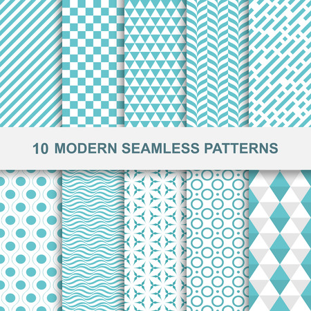 contemporary: 10 Modern seamless geometric patterns. Decorative green textures.