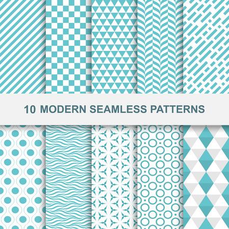 geometría: 10 patrones geométricos sin problemas modernos. Texturas decorativas verdes.