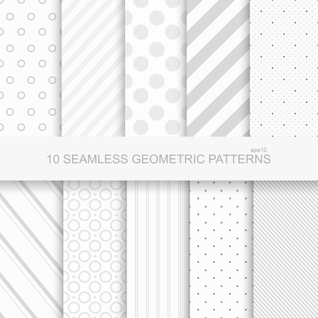 grey pattern: 10 Geometric seamless patterns. White and grey texture Illustration