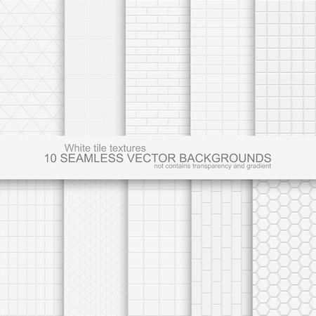 10 Naadloze achtergronden van witte tegelstructuur. Bevat geen gradiënten en transparantie