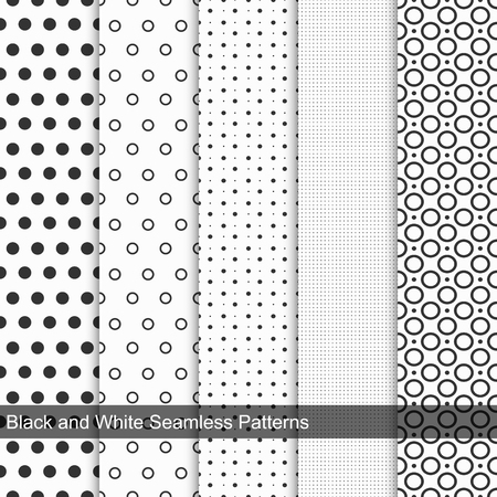 Dots simple patterns, seamless. Black and white texture Çizim
