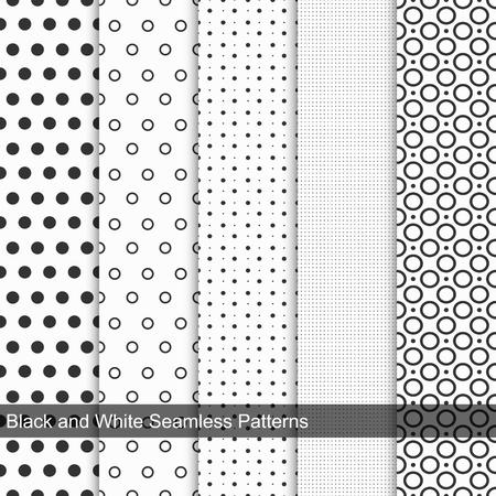 Punten eenvoudige patronen, naadloos. Zwart en wit textuur