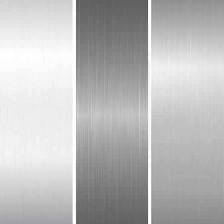 siderurgia: Conjunto de superficie metálica pulida. ilustración vectorial