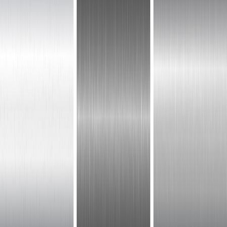 brushed steel: Set of polished metallic surface. Vector illustration