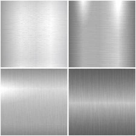 texturas metálicas. Brillantes texturas de metal pulido para su diseño. Ilustración de vector