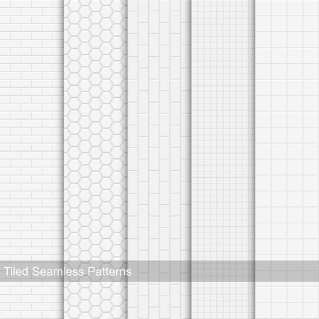 seamless tile: Vector set of white tile texture, seamless
