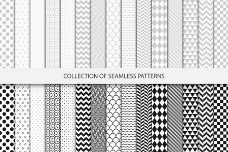 Collection of geometric seamless patterns. Black and white texture.