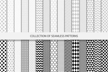 기하학적 원활한 패턴의 컬렉션입니다. 흑인과 백인 질감입니다.
