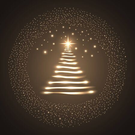 illuminated: Illuminated Christmas tree. Vector illustration - EPS 10. Illustration