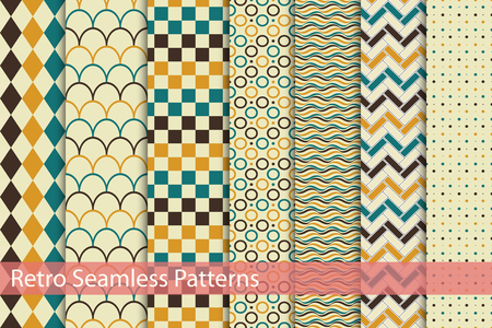 Collection of rcolor seamless patterns. Retro style. Illustration
