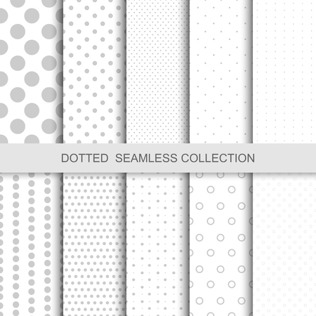 Simple dotted patterns. Seamless vector collection. Gray and white texture.
